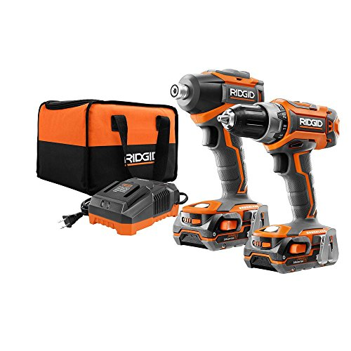 (Ridgid R9603 18V Lithium Ion Cordless Brushless Drill Driver and Impact Driver Combo Kit (2 x 1.5 Amp Hour Batteries, 18V Battery Charger, and Case Included))