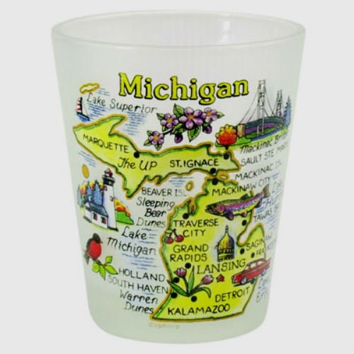 Michigan Map Frosted Shot Glass (Michigan Shot Glass)