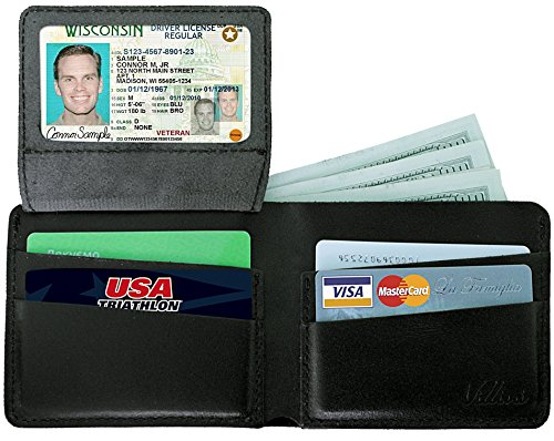 Villini Bifold Leather Men's Wallet with Cash Pocket and Card Holder Slots (Black)