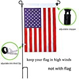 """W&X Garden Flag Stand-Holder-Pole with Garden Flag Stopper and Anti-Wind Clip 36.3"""" H x 16.5"""" W Powder-Coated Waterproof Paint Keep Your Flags from Flying Away in High Winds"""