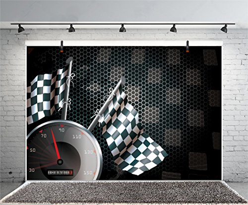 (Leyiyi 6x4ft Photography Background Speed Racing Backdrop Happy Birthday Exciting Game Checkered Flag Car Dash Board Heavy Metal Wallpaper Cowboy Baby Shower Photo Portrait Vinyl Studio Video)