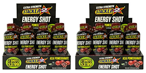 Stacker 2 Energy Shot, 'EXTRA STRENGTH' Acai Pomegranate, 2-Ounce Bottles (Extra Strength Pomegranate, 24 Shots) by STACKER 2