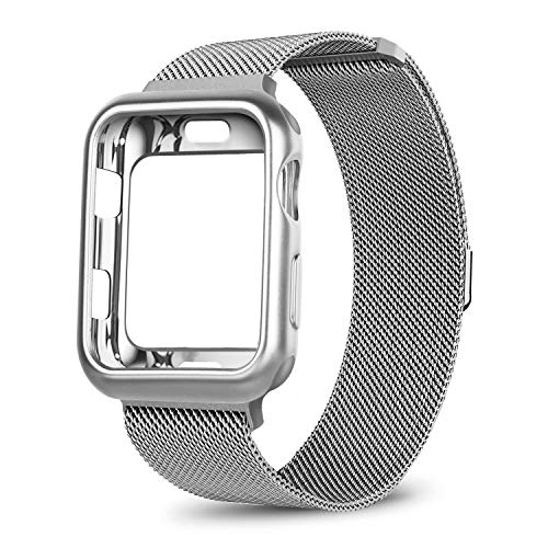 OROBAY Compatible with Apple Watch Band Case 38mm, Stainless Steel Magnetic Mesh Milanese Loop Band with Soft TPU Case Compatible with Apple Watch Series 3 Series 2 Series 1, Silver