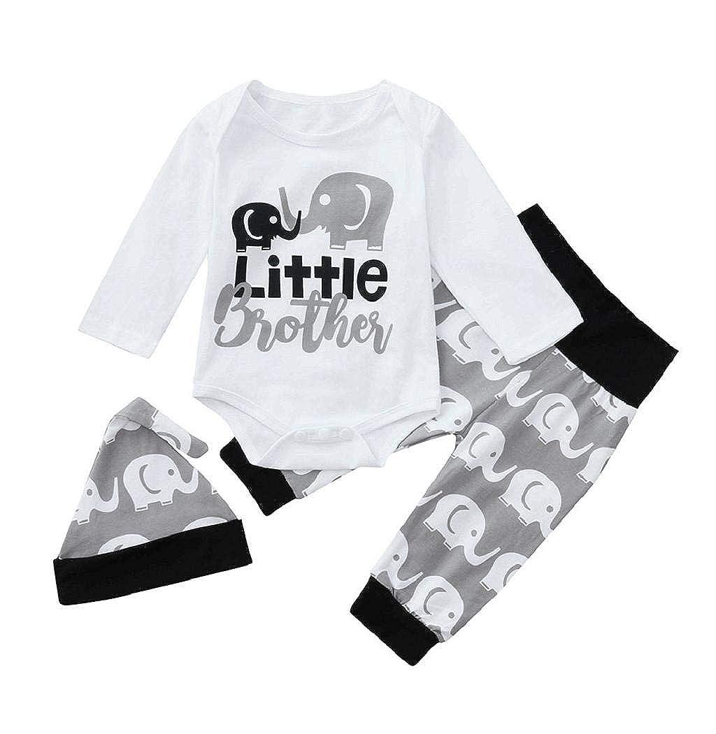 Taylorean Newborn Infant Baby Boys Girls Christmas Elk Letter Print Long Sleeve Romper Jumpsuit+Pants+Hat Set Clothes Warm Xmas Winter Unisex Child Pajamas Sleepwear 0-18 Months
