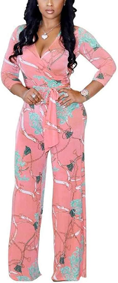 Bravepe Womens Floral Print Casual Belted Wide Leg V Neck Romper Jumpsuits
