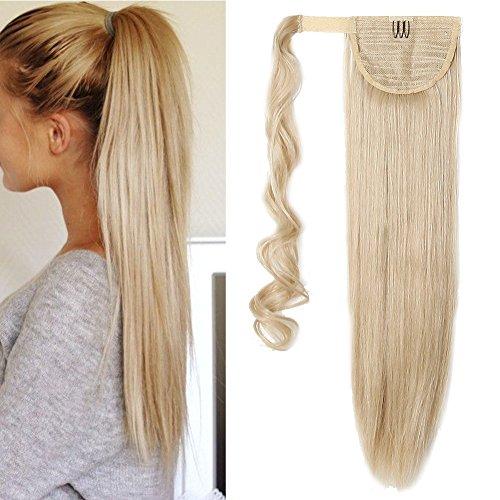 Wrap Around Synthetic Ponytail Clip in Hair Extensions One Piece Magic Paste Pony Tail Long Straight for Women Fashion and Beauty 23'' / 23 inch dark blonde mix bleach blonde