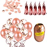 Rose Gold Party Decorations and Supplies for Wedding Showers, Bridal Showers, Engagement Shower Parties. The Decor Includes 40 Balloons, Confetti, Ribbons, Tassels.