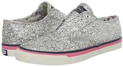 Sperry Women's CVO Laceless Boat Shoe, Silver Glitter-7 M (B)