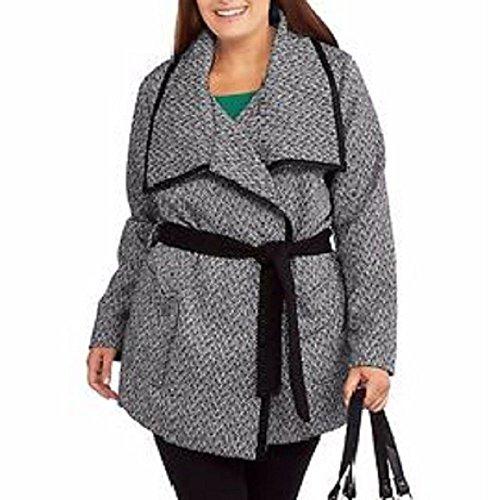 Herringbone Belted Jacket (Fresh NY Women's Belted Wrap Wool Blend Coat, Medium, Black/White Herringbone)
