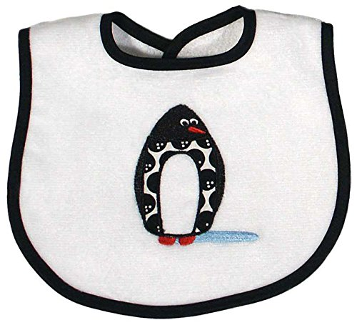 Raindrops Penguin Appliqued Bib, Black