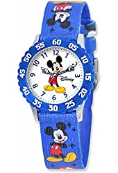 Disney Mickey Mouse Kids Blue Mickey Mouse Print Fabric Strap Time Teacher Watch