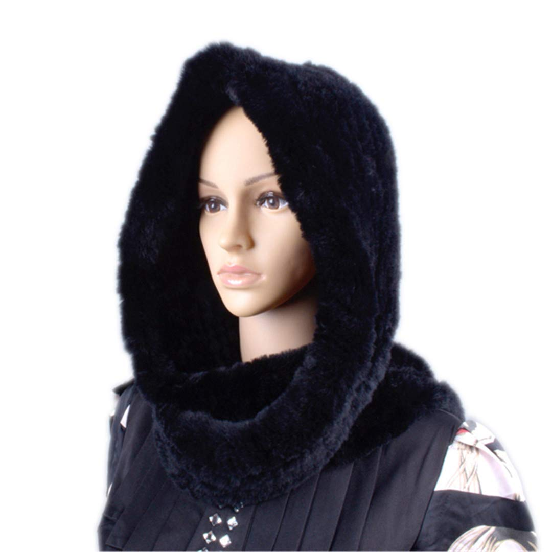 Knitted Fur Hood Real Rex Scarf Hat For Women Winter Snow Warm Large-Knitted Hat Black 56to59cm