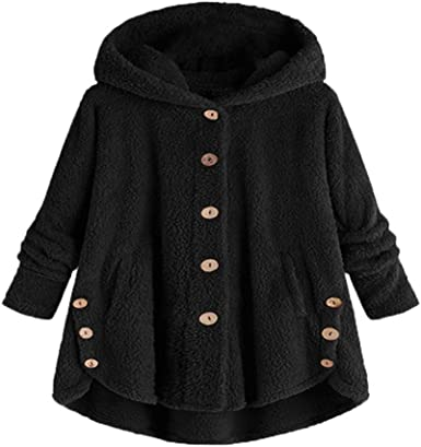 LODDD Fashion Women Button Coat Printing Fluffy Tops Hooded Pullover Loose Sweater