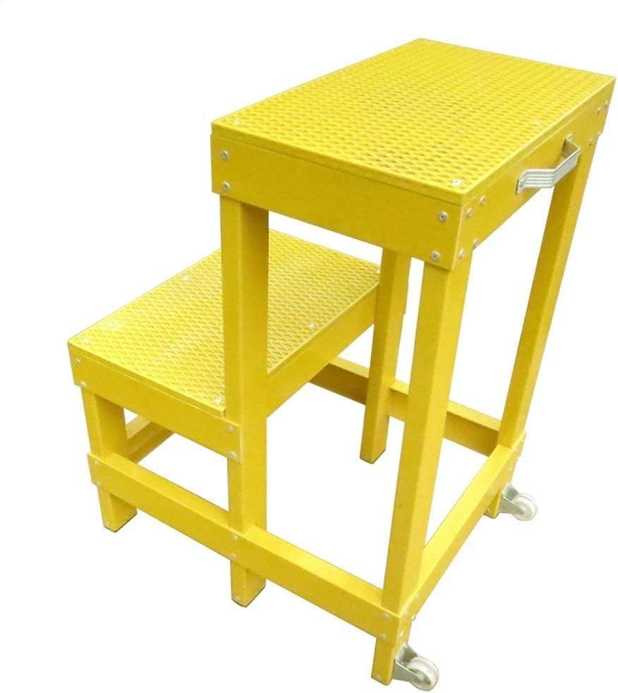 Escalera de electricista simple y portátil, 2 pasos, color amarillo, FRP, alfombrilla aislante de goma, antideslizante, alta y baja, estante, soporte de flores con asa y ruedas para cocina o bar: Amazon.es: