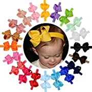 WillingTee Headbands Baby Girl's/Toddlers Hair Bands, Headbands With Grosgrain Ribbon Boutique 4  Hair Bows, 20 Piece