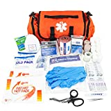 LINE2design Emergency Fire First Responder Kit - Fully Stocked First Aid Rescue Trauma Bag - Professional Lifeguard EMS EMT Paramedic Complete Medical Supplies for Natural Disasters - Orange