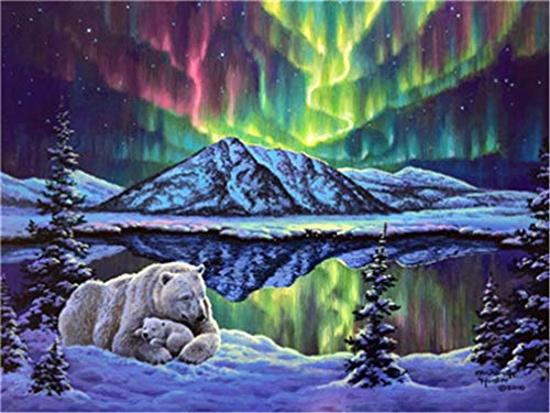 YEESAM ART DIY Paint Numbers Adults Beginner Kids, Bear Northern Lights 16x20 inch Linen Canvas Acrylic Stress Less Number Painting Gifts (Bears, Without Frame)