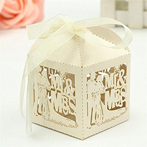 Tinksky 50pcs Mr Mrs Bride Groom Laser Cut Wedding Favor Box Birthday Shower Party Candy Boxes (Creamy)