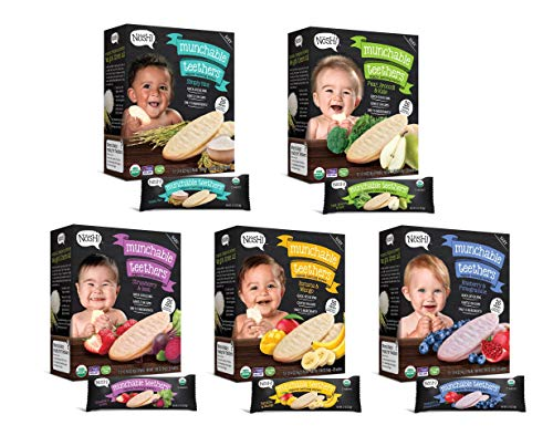 Nosh Baby Munchables Teethers Organic Rice Teething Wafers, 26 Piece, Variety Pack (Pack of 5)