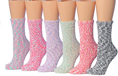 Tipi Toe Women's 6-Pairs Patterned & Solid Anti-Skid Soft Fuzzy Crew Socks (Cozzy ()