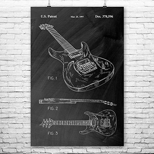 Ibanez 540RBB Electric Guitar Poster Print, Guitarist Gift, Heavy Metal, Ibanez Guitar, Guitar Player, Guitar Blueprint Chalkboard (Black) (9