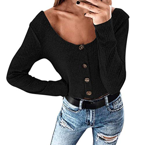 Staron  Womens Casual Solid Button Shirt Long Sleeve Sexy Short Crop Tank Top Blouse -