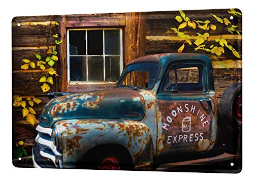 Vintage Car Decoration Rusted Car with Truck Bed Broken Window Metal Tin Sign Outside Decor Aluminum Sign for Garage Driveway