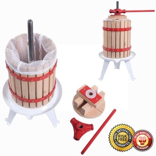 New Fruit Wine 1.6 Gallon Press Cider Apple Grape Crusher Juice Maker Tool Wood
