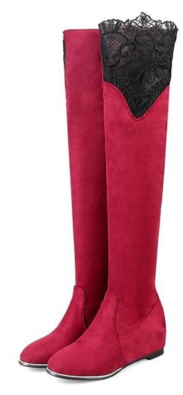 SHOWHOW Damen Spitze Erhört Overknee Langschaft Stiefel Rot 36 EU BaFP8ROxY