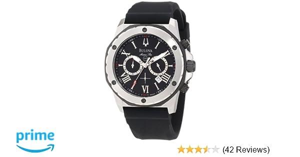 fa4815e24 Amazon.com: Bulova Men's 98B127 Marine Star Black Dial Strap Watch: Bulova:  Watches
