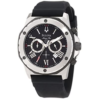 Bulova Men's 98B127 Marine Star Black Dial Strap Watch