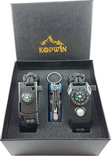 Kopwin Paracord Survival Bracelet Set - Bonus Keychain Multitool Included. Military Grade Bracelets With Compass, Magnesium Flint Fire Starter, Emergency Whistle, Knife And Led Light. Set Of 2- Black