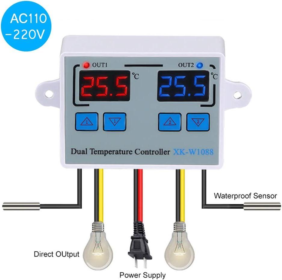 KKmoon Termostato Digital Controlador de temperatura de termostato digital dual Termorregulador de salida de dos relés para incubadora Calefacción Refrigeración XK-W1088 DC12V/24V/AC 220V