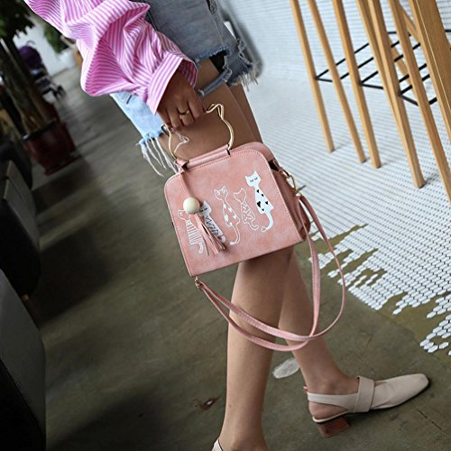 Bag Printing Cat Crossbody Messenger Pink Women Bag Yannerr Animal Shoulder Pattern zqH6wn