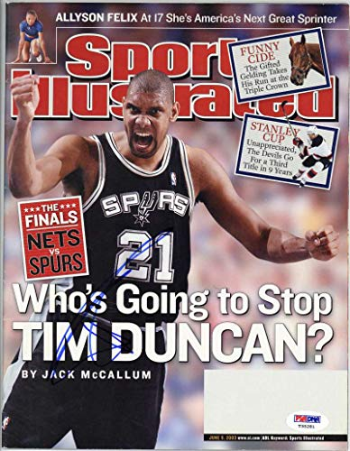 Tim Duncan Signed Autographed 2003 Sports Illustrated Magazine PSA/DNA