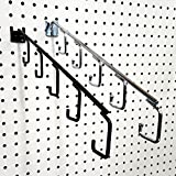 Pegboard 5 Hook Waterfall Faceout Hook, Black or