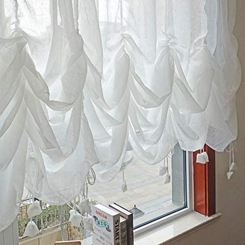 FADFAY Farmhouse White Lace Shabby Elegant Chic Sheer Curtain with Valances, Adjustable Tie-Up Curtain Shades, 1 Panel Shabby Tulle Curtains for Window 78 x90