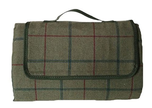 Luxury Green Tweed Picnic Blanket by Red Hamper