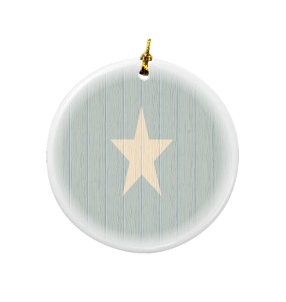 Rikki Knight Somalia Flag on Distressed Wood Design Round Porcelain Two-Sided Christmas Ornaments