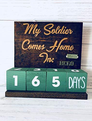 Military Hero Deployment Homecoming Countdown Calendar Blocks Home Decor Gift for Wife]()