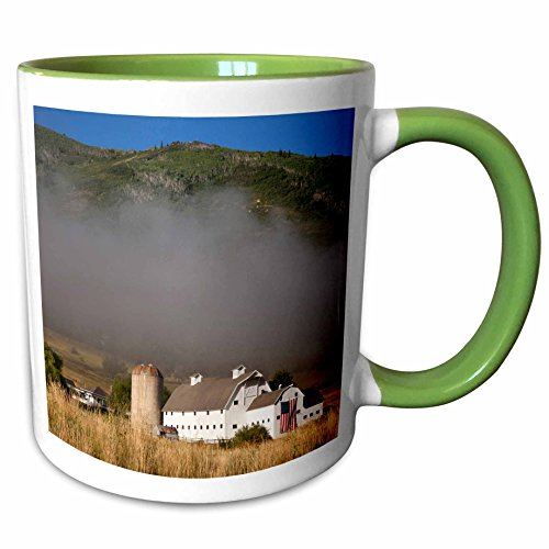 3dRose Danita Delimont - Barns - McPolin-Osguthorpe Barn in Park City, Utah, USA - US45 BJN0011 - Brian Jannsen - 11oz Two-Tone Green Mug - Park Utah City 7 11