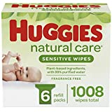 HUGGIES Natural Care UNSCENTED Baby Wipes, Sensitive, 6 Refill Packs and Clutch 'N' Clean (1008 Total Wipes)