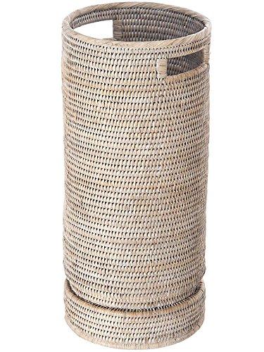 "KOUBOO 1060071 La Jolla Rattan Round Umbrella Stand with Water Catch, 9.5"" x 9.5"" x 21"", White Wash"