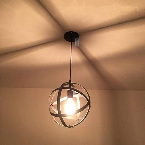 Industrial Pendant Light Retro Spherical Pendant Light Metal Hanging Chandelier Light for Kitchen Living Room Bedroom Hallway Black