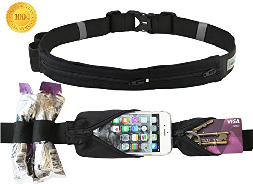 Premium Running Belt. Reflective Runner Pouch & Waist Pack. Holds Fuel iPhone 6 plus Money and Gear for Sports Fitness Hiking Treadmill Cycling Travel Runners Men & Women. FREE Fitness Ebook