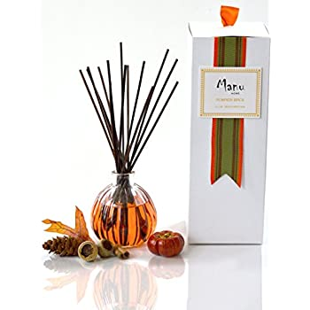 24 Hour Sale |Manu Home pumpkin reed diffuser set | 6.5 ounce fill |Nostalgic scent crafted with aromatherapy oils and real pumpkin extract. Made in USA.