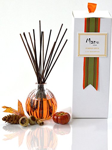24 Hour Sale |  Manu Home pumpkin reed diffuser set | 6.5 ounce fill |  Nostalgic scent crafted with aromatherapy oils and real pumpkin extract. Made in - Spice Pumpkin Reed Diffuser