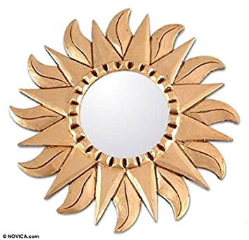 NOVICA Sun and Moon Leaf Sunflower Mohena Wood Mirror