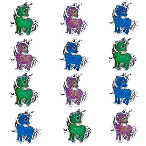 FROG SAC Unicorn Mood Rings for Little Girls and Women 12 PCs - Unicorn Birthday Party Supplies and Favors for Kids - Color Changing Mood Ring Set - Adjustable Ring -