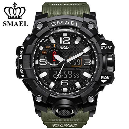 (SMAEL Men's Sports Analog Quartz Watch Dual Display Waterproof Digital Watches with LED Backlight relogio masculino (Army Green))